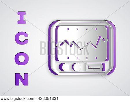 Paper Cut Electrical Measuring Instrument Icon Isolated On Grey Background. Analog Devices. Measurin