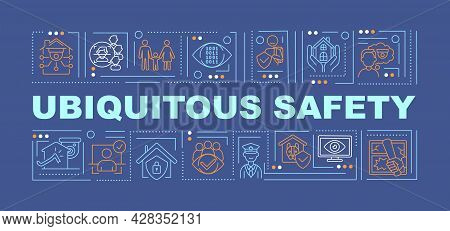 Ubiquitous Security Word Concepts Banner. Cybersecurity Technologies. Infographics With Linear Icons
