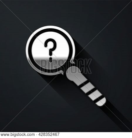 Silver Unknown Search Icon Isolated On Black Background. Magnifying Glass And Question Mark. Long Sh
