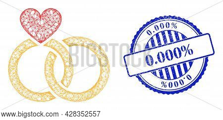 Vector Net Wedding Rings Frame, And 0.000 Percents Blue Rosette Unclean Seal Print. Wire Carcass Net
