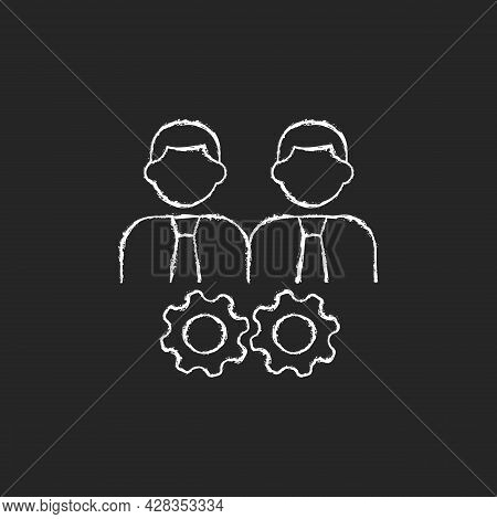 Collaboration Chalk White Icon On Dark Background. Two Men And Gears. Achieve Goal Together. Group M