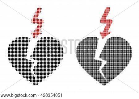 Dotted Halftone Break Heart Icon. Vector Halftone Composition Of Break Heart Icon Designed Of Spheri