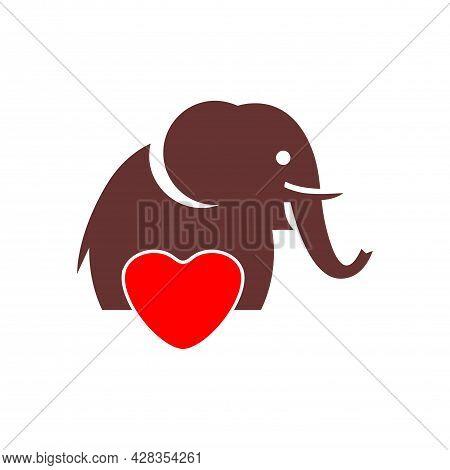 Red Love Elephant Logo Icon Flat Vector Concept Design