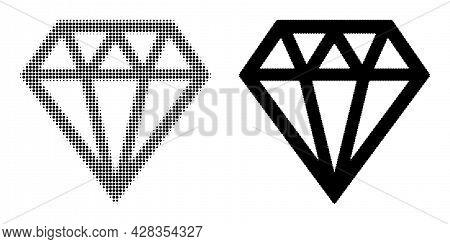 Pixelated Halftone Brilliant Icon. Vector Halftone Pattern Of Brilliant Icon Designed Of Round Pixel