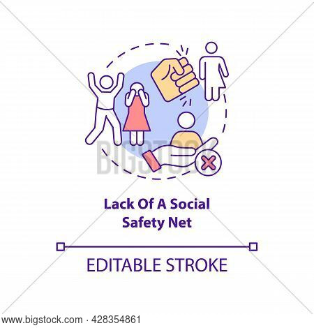 Lack Of Social Safety Net Concept Icon. Human Trafficking Cause Abstract Idea Thin Line Illustration