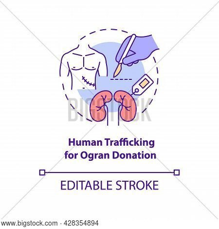 Human Trafficking For Organ Donation Concept Icon. Illegal Transplantation Of Organs And Tissues Abs
