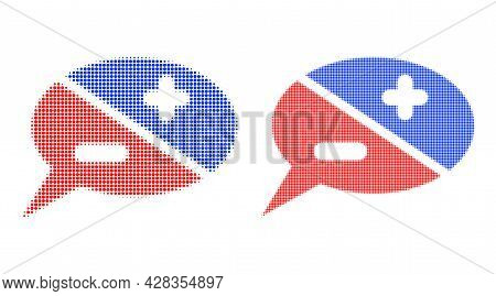 Pixelated Halftone Chat Arguments Icon. Vector Halftone Concept Of Chat Arguments Icon Organized Of
