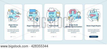 Organ Trade Trafficking Participants Onboarding Mobile App Page Screen. Organ Sale Walkthrough 5 Ste