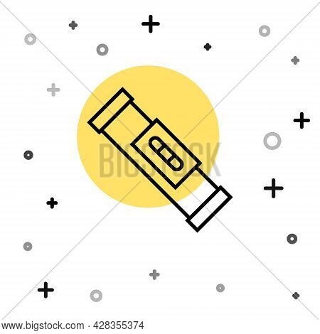 Black Line Construction Bubble Level Icon Isolated On White Background. Waterpas, Measuring Instrume