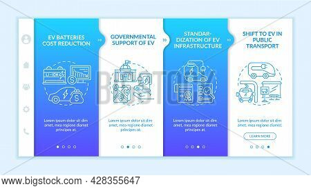 Ev Governmental Support Onboarding Vector Template. Responsive Mobile Website With Icons. Web Page W