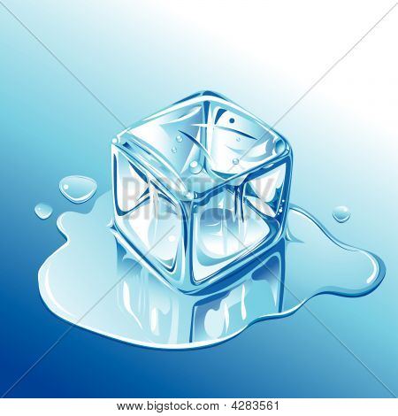 Melting Blue Ice Cube