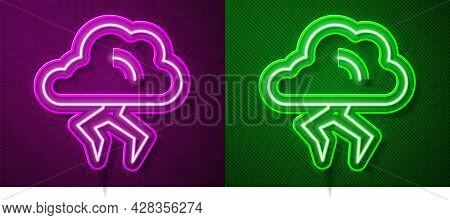 Glowing Neon Line Storm Icon Isolated On Purple And Green Background. Cloud And Lightning Sign. Weat