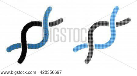 Dotted Halftone Dna Helix Icon. Vector Halftone Pattern Of Dna Helix Icon Created Of Spheric Element