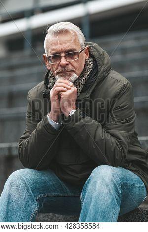 Praying Hands, Sin. Faithy Elderly Christian Man In Despair. Church Parishioner.