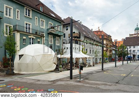 La-chaux-de-fonds, Switzerland - July 7th 2021: Lively Square In The City Centre With Mixed Architec