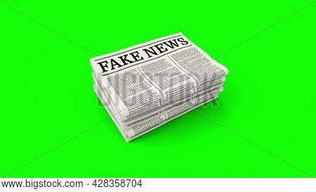 Fake News - Fake News Headline. Hoax Media Newspaper Printing. Stack Of Newspapers On Green Backgrou