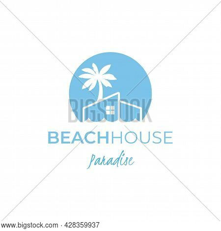 Beach Resort Real Estate Negative Space Logo Perfect For Beach House And Hotel Logo