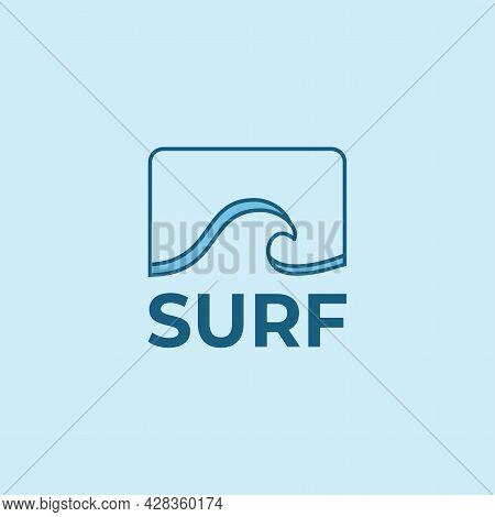 Blue Tropical Beach Surf Wave Logo For Beach Or Surf Company