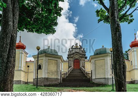 Mountain Of Holy Mother With Baroque Hedec Monastery And Alley In East Bohemia,czech Republic.famous