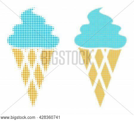 Dot Halftone Icecream Icon. Vector Halftone Mosaic Of Icecream Icon Designed Of Circle Dots.