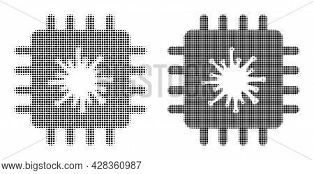 Dotted Halftone Infected Chip Icon. Vector Halftone Pattern Of Infected Chip Icon Made Of Round Poin