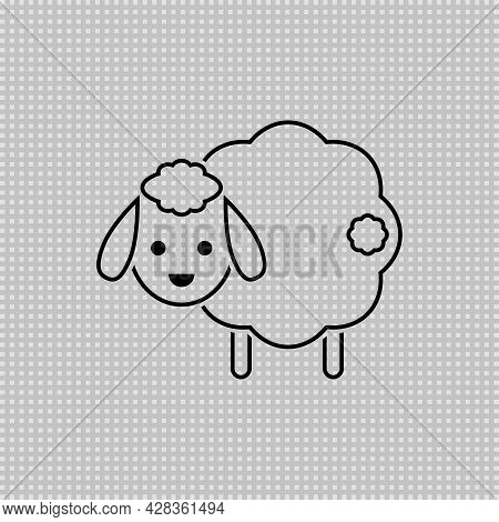Cute Sheep With Tail. Transparent Linear Outline Vector Drawing. Lamb Illustration.