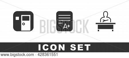 Set School Classroom, Exam Sheet With A Plus Grade And Schoolboy Sitting At Desk Icon. Vector
