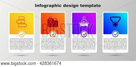 Set Book, Document Folder With Clip, Schoolboy Sitting At Desk And Medal. Business Infographic Templ