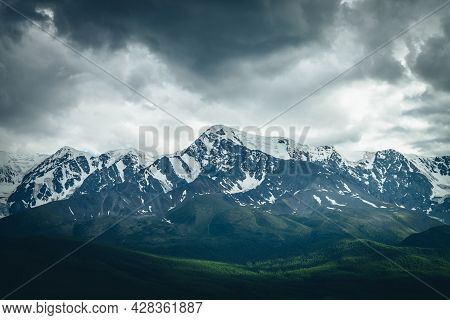 Dramatic Mountains Landscape With Big Snowy Mountain Ridge Above Sunlit Forest In Overcast Weather.