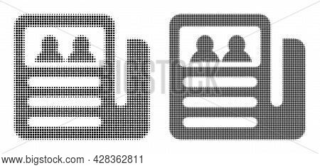 Pixelated Halftone Newspaper Icon. Vector Halftone Pattern Of Newspaper Icon Composed Of Spheric Ele