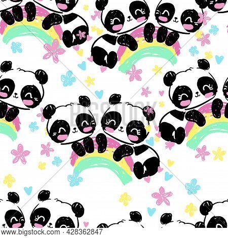 Hand Drawn Panda Bear With Rainbow Seamless Pattern, Cute Print Design Background, Children Textile
