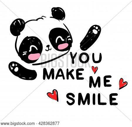 Hand Drawn Cute Panda Bear Print Design. Vector Illustration.