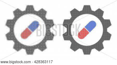 Pixel Halftone Pharma Industry Icon. Vector Halftone Pattern Of Pharma Industry Icon Organized Of Ro