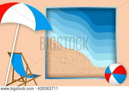 Summer Vacation Illustration. Beach Chair, Umbrella And Bright Ball On The Sandy Beach