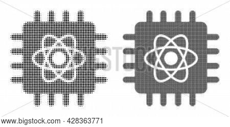 Dotted Halftone Quantum Computing Icon. Vector Halftone Pattern Of Quantum Computing Icon Formed Of
