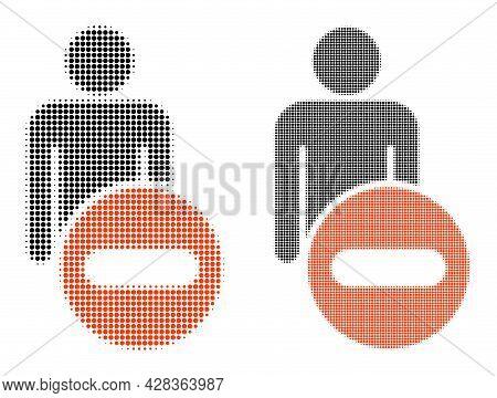 Dot Halftone Remove Man Figure Icon. Vector Halftone Pattern Of Remove Man Figure Icon Made Of Circl