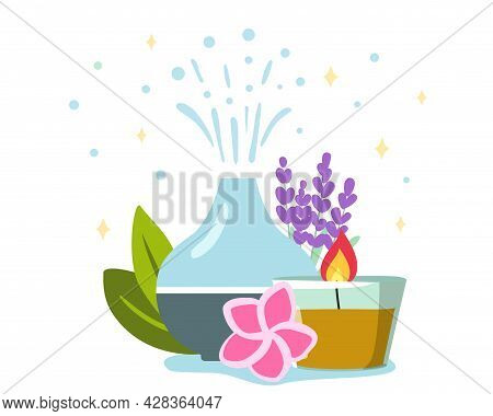 Decorative Ultrasonic Home Diffuser And Lavender Flowers For Meditation And Freshness At Home And Ar