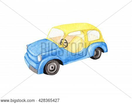 Watercolor Yellow-blue Car Without A Door. Fancy Car. Car Design For Boys. Watercolor Drawing. Hand