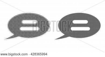 Dot Halftone Text Message Icon. Vector Halftone Collage Of Text Message Icon Done Of Round Dots.