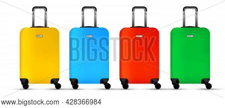 Travel Suitcase Isolated. Set Of Colorful Plastic Luggage Or Vacation Baggage Bag On White Backgroun