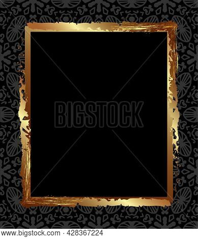 Square Gold Antique Frame On A Black Background With Gray Ornaments For Decoration Of Congratulation