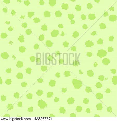 Celery Green Blots Primitive Naive Hand Drawn Brushstroke Seamless Pattern. Vector Doodle Endless Pa