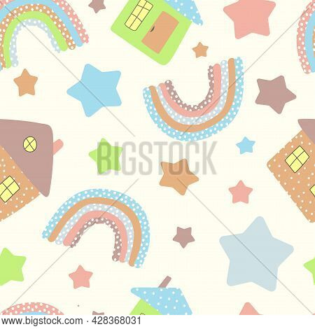 Seamless Pattern Of Colored Houses With A Pipe, Rainbows In A Dot And.  Multicolored Stars In Doodle
