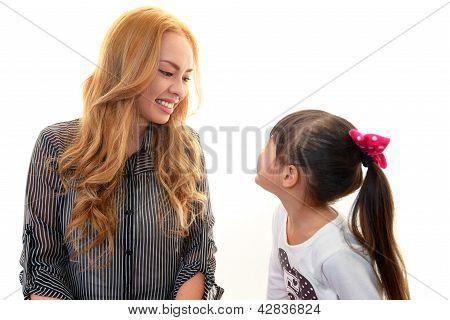 Smiling english teacher with girl