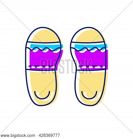 Taiwan Slippers Flat Icon. Taiwanese Walking Shoes. Oriental Footwear. Asian Item. Color Filled Symb