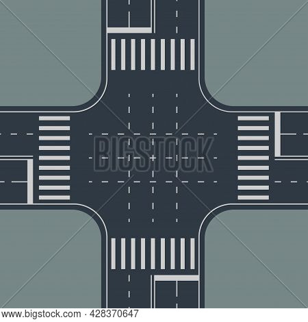 Top View To Crossroad On Gray Back