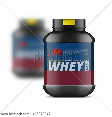 Black Whey Protein Jar And Blured One Behind