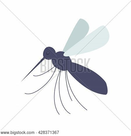 Mosquito Isolated On White. Blood Is Running. Vector Illustration Flat
