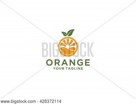 Citrus Fruit Logo With Orange Juice Inside The Orange Fruit