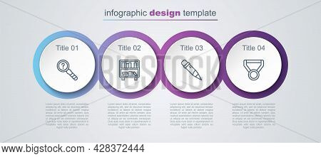 Set Line Unknown Search, Shelf With Books, Pencil Eraser And Medal. Business Infographic Template. V